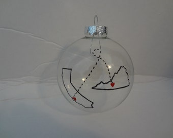State to state ornament, state ornament, personalized ornament, handpainted ornament