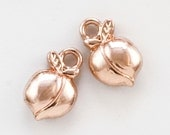 5 Rose Gold Plated Your're A Peach Charms - 15mm X 10mm - Matching Jump Rings Included - 100% Guarantee