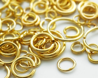 SALE 100 Economical Gold Plated Jump Rings - Special Purchase in 17, 18, 20, 21, 22, 24 gauge - 100% Guarantee