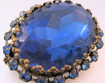 BIGGEST SALE of the Year Vintage Big Blue Rhinestone Faceted Glass Brooch Jewelry Jewellery
