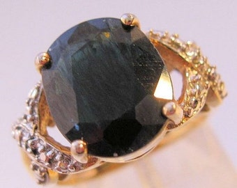 10% OFF SALE Genuine 5ct Midnight Blue Sapphire & Diamond Ring Sterling Vermeil Size 7 Vintage Estate Fine Jewelry Jewellery