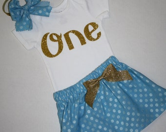 first birthday outfit for girls blue and gold glitter 1st birthday outfit cake smash outfit glitter gold one first birthday bodysuit skirt