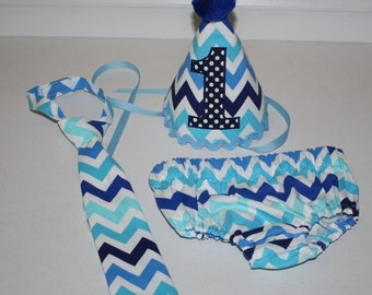 boys first birthday outfit, cake smash outfit, blue chevron, navy dot, boys diaper cover, boys tie, birthday hat