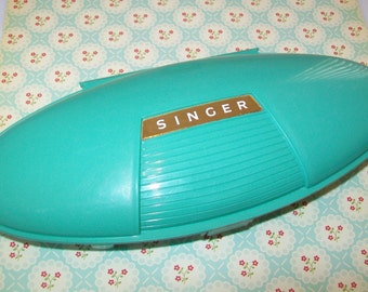 SALE-Midcentury Singer Buttonholer Box with attachments, 1950s