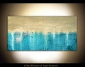 Abstract Art Original Large Textured Painting Blue High Gloss Oil Painting Modern Contemporary 24 x 48 by Sky Whitman