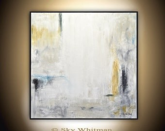 Large Original Painting 36x36 Framed Modern Abstract Art Gray Sienna Square Oil Painting Contemporary Art Bethany Sky Whitman