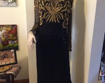 SALE  Vintage 80s Lawrence Kazar Holiday Bombshell Pearls gold and black sequins beaded silk Full Length Column Dress Size Medium