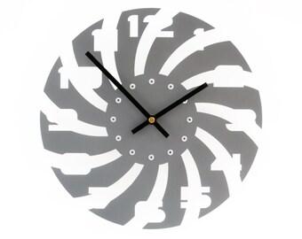 Sawblade III, Medium Wall Clock, Painted Granite Gray, unique wall clock, modern wall clock, steampunk wall clock, industrial clock