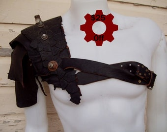 ON SALE -- Blackened Leather Pauldron -- tire scraps fallout barbarian viking post apocalypse burning man wasteland weekend