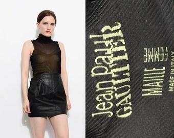 90s Jean Paul Gaultier Black Stretchy Sheer Mesh Top Turtle Neck Minimal Club Kid See Through Sleeveless Shirt S M
