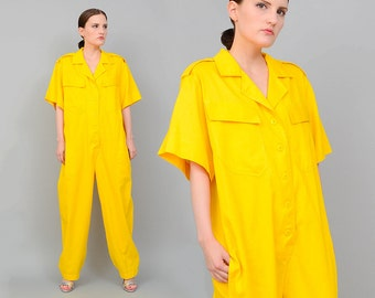 Vintage 80s Yellow Baggy Oversize Jumpsuit Utilitarian Coveralls Onesie Jumper Small Medium S M