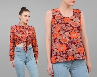 Vintage 60s Floral Top 2 Pc Matching Set Hippie Cropped Blouse 1960s Mod Sleeveless Top Medium Large M L