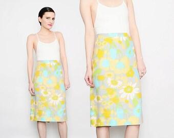 60s Floral Skirt Woven Linen MOD Skirt High Waist Retro 1960s Knee Length Pencil Skirt Yellow Aqua Medium M