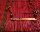 Rustic Copper Bar Necklace with Sterling Silver Accents, Rolo Chain