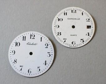 Vintage Pocket Watch Dials - Lot Of 2 - Excelsier And Caravelle