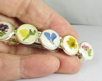 Pressed Flower Hair Clip, Real Flower Jewelry, Resin (1678)