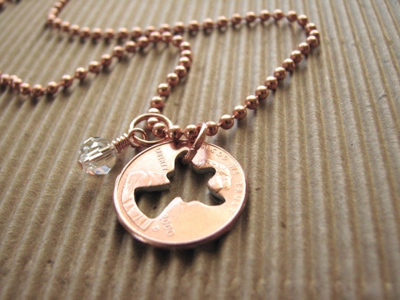 Stamped Penny from Heaven Necklace, Penny Necklace, Coin Necklace - The Angel