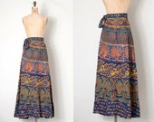 o n h o l d.........vintage 1970s skirt / long 70s indian cotton wrap skirt / Indian Summer #1