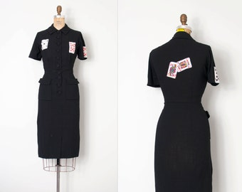 vintage 1940s dress / playing card novelty applique black 40s wiggle dress / Feeling Lucky