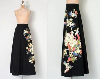 vintage 1960s maxi skirt / 60s black floral applique skirt / Puzzle Petals