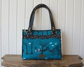 Dandelion Double Zip Handbag in Cotton and Steel Hallow Lane in Blue with black faux leather