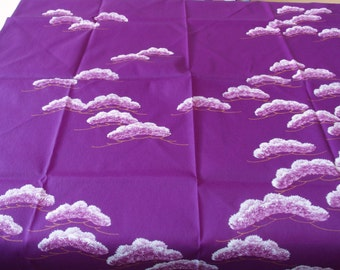 Purple Furoshiki With Japanese Leaf Design Eco Wrapping Cloth 一