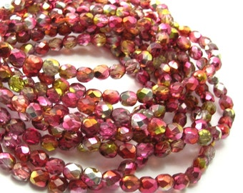 Czech Glass Red/Gold Vitrail Faceted Rounds (6mm)  - Czech Beads