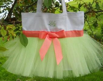 Dance bags, Ballet bag, tutu dance bag, Embroidered tutu tote bag, tutu tote bag, tutu bag, dance bag, Personalized Tutu Ballet Bag TB15 BP