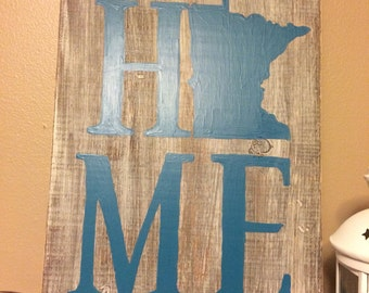 H-O-M-E Minnesota Wood Sign