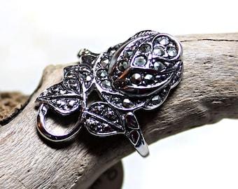 Marcasite Statement Ring, Rosebud Ring, Women's Fashion Jewelry, Size 8