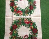 Vintage Linen Christmas Wreath Towel Unused