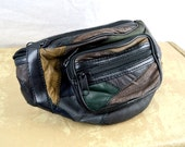 Vintage 80s 90s Patchwork Leather Fanny Pack