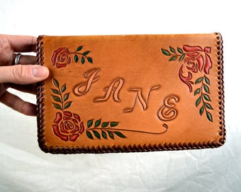 Vintage Floral Tooled Leather Address Book Journal Diary Wedding Gift - Perfect for Jane and Steve