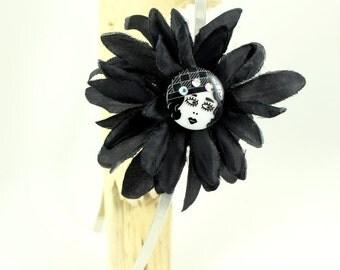 Retro style headband, black flower headband, flexible, woman, big flower, black
