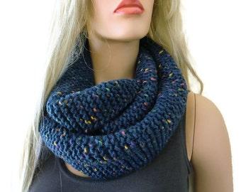 Dark blue/navy  HARASHO winter infinity scarf- Navy  men scarf-Hand knitted simplicity cowl, Warm winter scarf- best friend gift