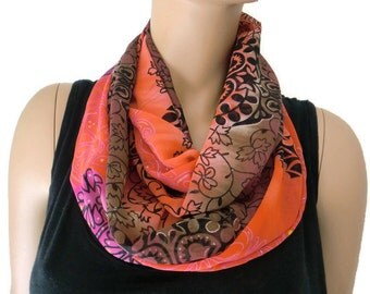 Chiffon infinity scarf,Pink, Orange and brown Gold touched Mehndi pattern chiffon infinity Scarf Chiffon cowl Instant gratification