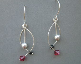 Curved Dangle Earrings - Silver Ruby Black, Swarovski Elements, Crystal and Pearl, Sterling Silver Dangles, Elegant Earrings, Curvy Earrings
