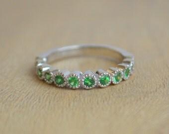 14K White Gold 1/2 Eternity Ring with Tsavorite Garnet