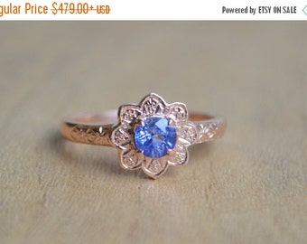 SALE Engraved Sunflower Ring in 14 K Rose Gold with Ceylon Sapphire
