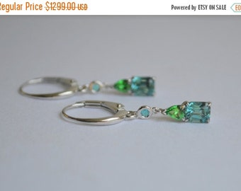 SALE Lagoon Tourmaline, Paraiba Tourmaline, and Neon Tsavorite Dangly Earrings in 14 Kt White Gold
