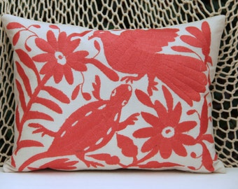 Coral Folk Art Pillow Sham-Otomi Embroidery Ready to ship.