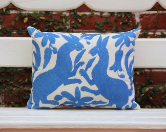Perwinkle blue  Folk Art Pillow Sham-Otomi Embroidery Ready to ship.