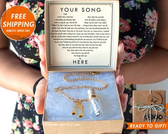 Love Song in a Bottle Necklace - YOU PICK - Charms - Anniversary Gift - Birthday Gift- Custom Bottle Necklace - Ready to Gift - Ships Fast!