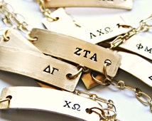 Official Licensed Greek Letter Sorority Bracelets, Hand Stamped, Brass or Sterling Silver with Gold Plated or Silver Plated Chain