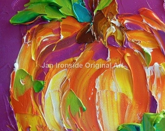 Pumpkin Decor, Home decor, Oil Painting , pumpkin painting , Impasto Painting, Fall Art