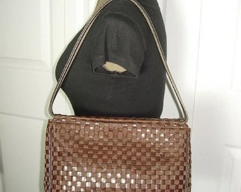 Vintage The Sak Woven Brown Leather Trim Shoulder Bag, The Sak Hobo, The Sak Tote, The Sak Handbag, The Sak Shoulder Purse, The Sak Satchel