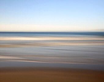 Abstract Seascape, Brown and Blue, Beach Decor, Modern Art, Ocean Photography, 11X14 Mat, Ready to Frame