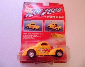 Hot Rods Majorette Die Cast metal Car, Willys Coupe 1941, red flames, yellow car, Hot Rod Car, 1940s, Racing Rod, Street Rod, Vintage Car