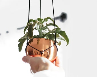 AENA - Copper Hanging Planter - Modern Macrame Hanger with Vintage Copper Cup