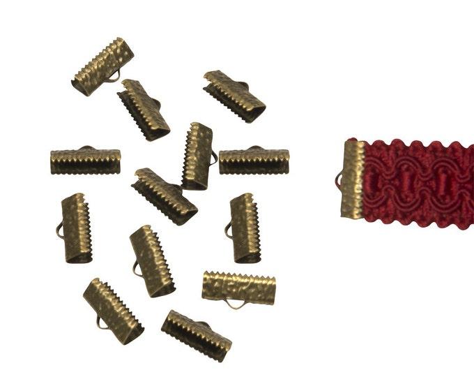 150pcs.  16mm  (5/8 inch)  Antique Bronze Ribbon Clamp End Crimps - Artisan Series